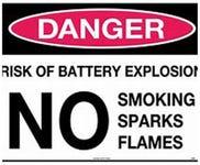 Sign Danger Battery Explosion 300x225mm